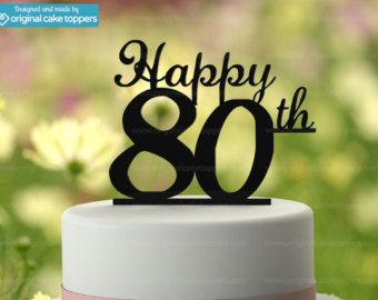 90th Birthday Cake Topper Happy 90th by OriginalCakeToppers