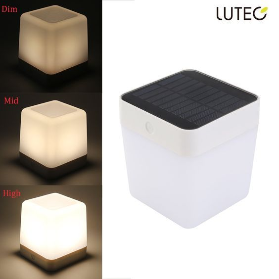 LUTEC Solar Rechargeable LED Light Outdoor/indoor Emergency lighting Waterproof lamp Touch Sensitive Control Garden Bedroom lamp Camping Outage Led Table Cube Night Light home Decorative light LED >>> For more information, visit image link.