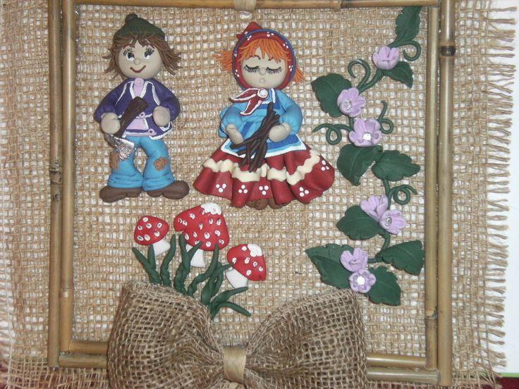 Tablou Hansel si Gretel ,realizat manual din bete de bambus,canepa,personajele sunt realizate din fimo!