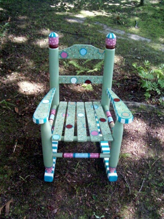 Hand Painted Princess Rocking Chair by vivyscloset on Etsy, $130.00