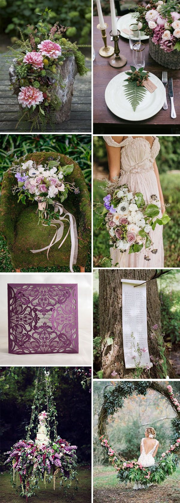 whimsical woodland pink and purple wedding inspiration