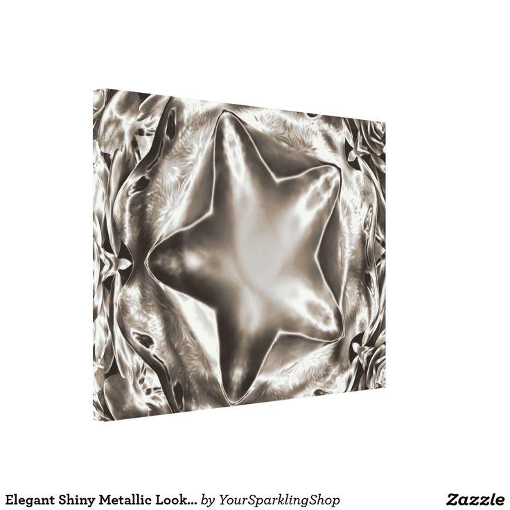 Elegant Shiny Metallic Look Sepia Star Canvas
