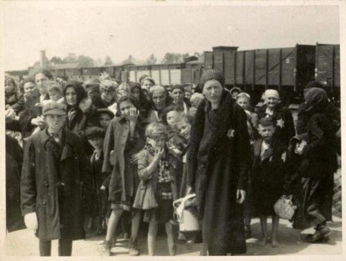 "Women and children on the Birkenau arrival platform known as the ""ramp"". The Jews were removed from the deportation trains onto the ramp where they faced a selection process- some were sent immediately to their deaths, while others were sent to slave labor. Women and children - seen as less valuable to the Reich - were most likely to be sent to the left (lings), which led to the gas chambers, instead of to the right (rechts) which led to possible survival."