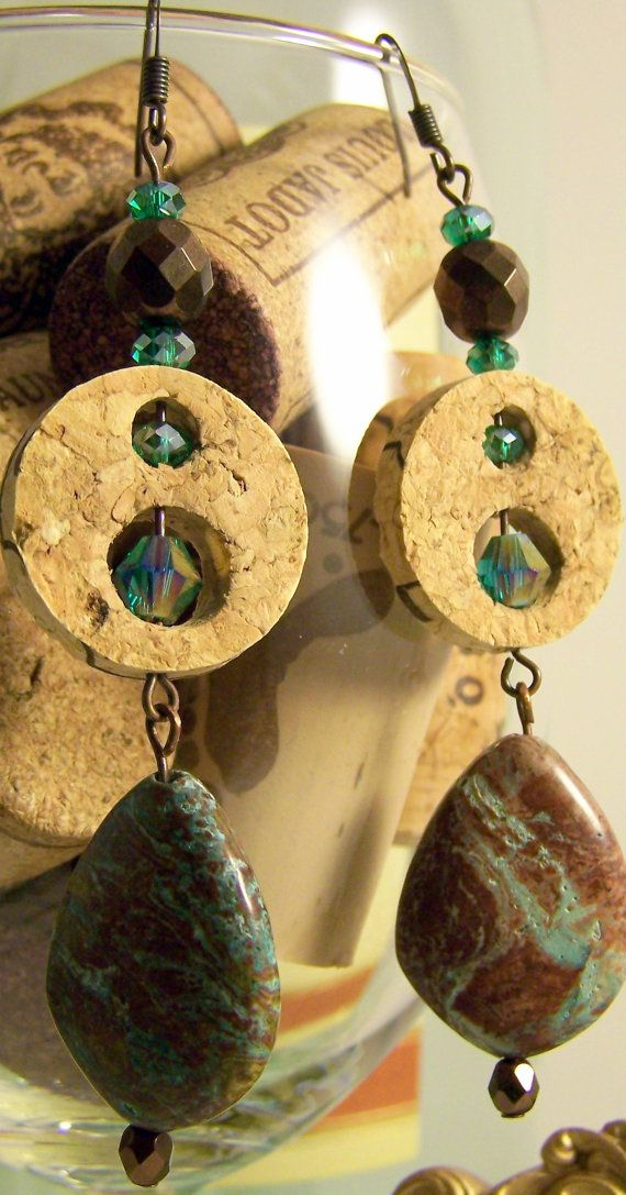 Yep, they are made with wine corks. Blue rainbow jasper wine cork dangle earrings by UncorkedJewelry, $18.00