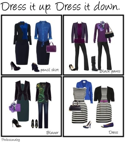 -Pair a pencil skirt from a suit with a denim or other casual top. -Wear a sweater with a basic pair of black pants instead of a jacket. -Make your suit jacket do double duty: wear it with a pair of dark wash jeans and a fun top. -Brighten up a dress with accessories you wouldn't usually use.