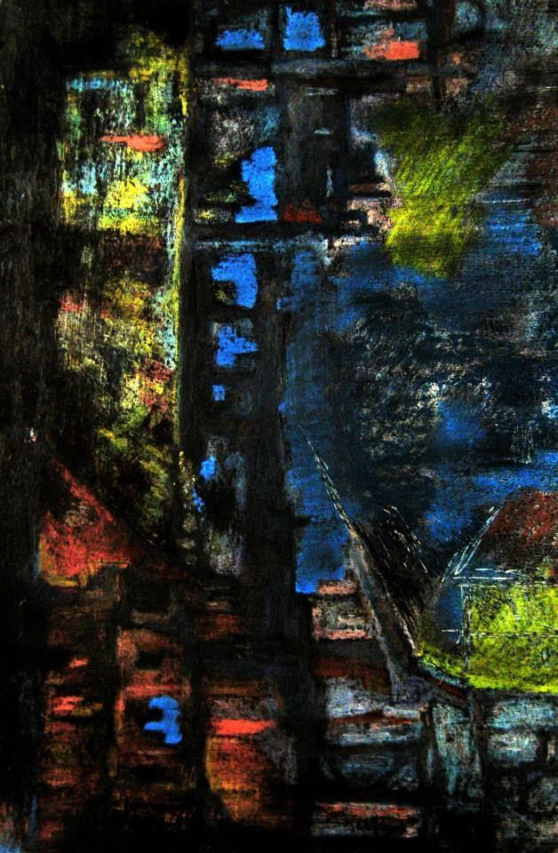 Idoles. Encre et pastels gras, 30X40 cm.