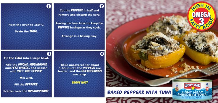 Baked peppers with tuna.