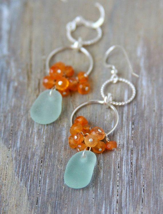 Sea+Glass+Earrings+Aqua+Seaglass+Chandelier+by+MermaidCharms