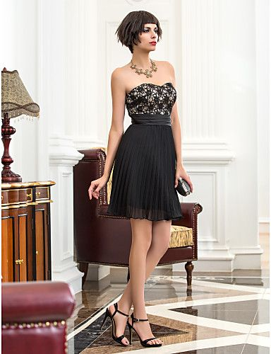 Homecoming Cocktail Party/Holiday Dress - Multi-color A-line Sweetheart Short/Mini Chiffon/Lace – CAD $ 152.89