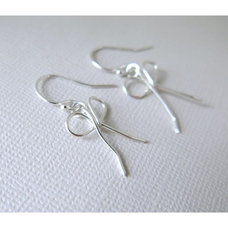 Sterling Silver Bow Earrings - Ribbon - .925 Sterling Silver - Handmade - Wire Wrapped