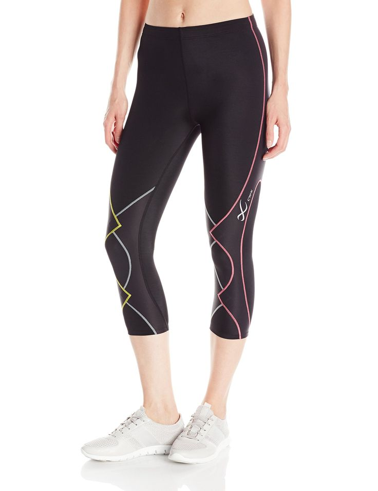 CW-X Conditioning Wear Women's Expert 3/4 Tights, Black/Yellow/