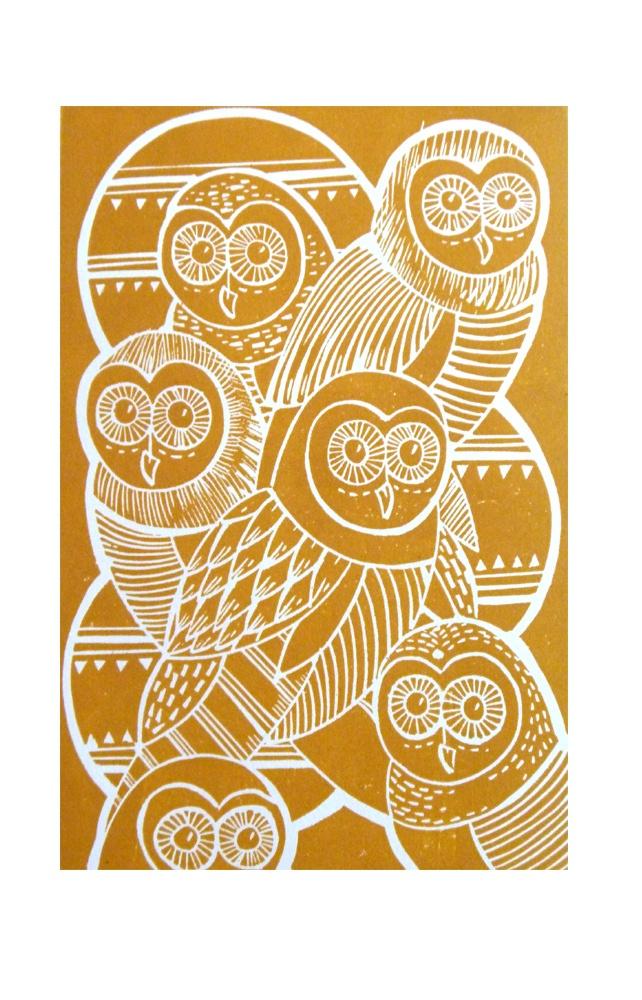 Owls Original Lino Cut Print (mustard) £23.00 by @Amanda Snelson Snelson Coleville