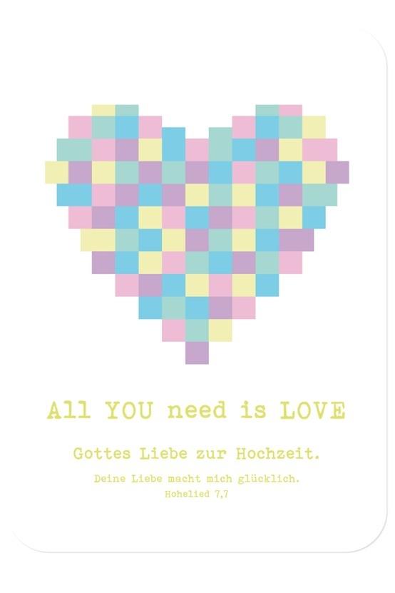 """Postkarte - Hochzeit - All you need is love, Bibelvers auf der Karte: """"Deine Liebe macht mich glücklich."""" - Hohelied 7,7"""