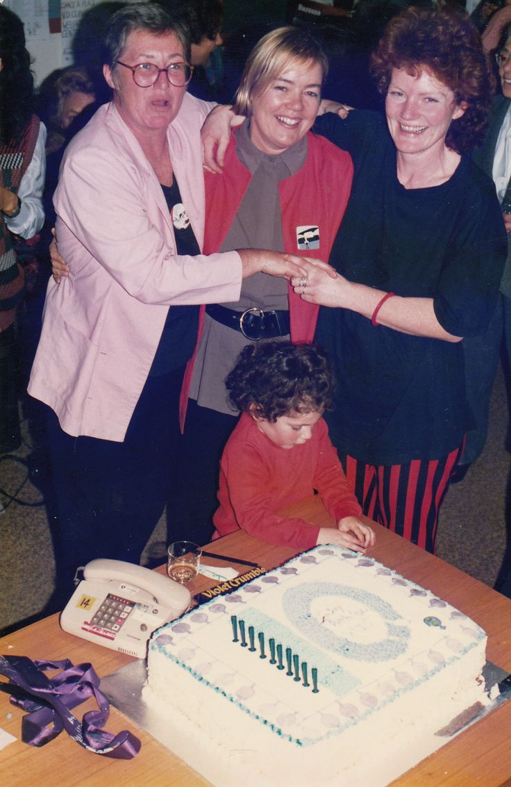 """""""Andi had the vision and the concept of the Switchboard, Maureen had the concept of delivering information. It was because of these two's commitment that we have the Switchboard."""" Deb McCullough (Picture dated 8 July 1988, WIS 10th Birthday Deborah McCulloch, Maureen Fallon, Andi Sebastian)"""