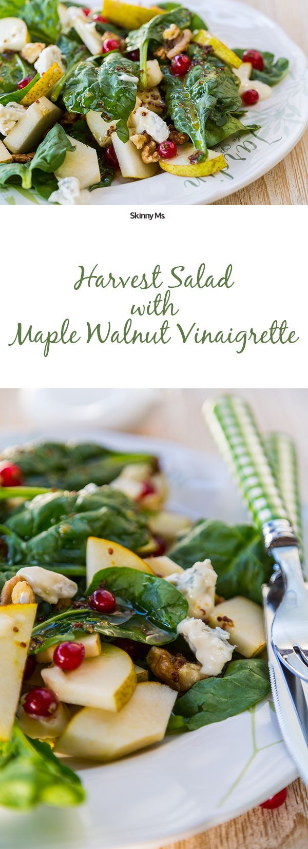 This Harvest Salad with Maple Walnut Vinaigrette has spinach, apples, feta cheese, walnuts, and dried cranberries, all topped with a fall inspired dressing.