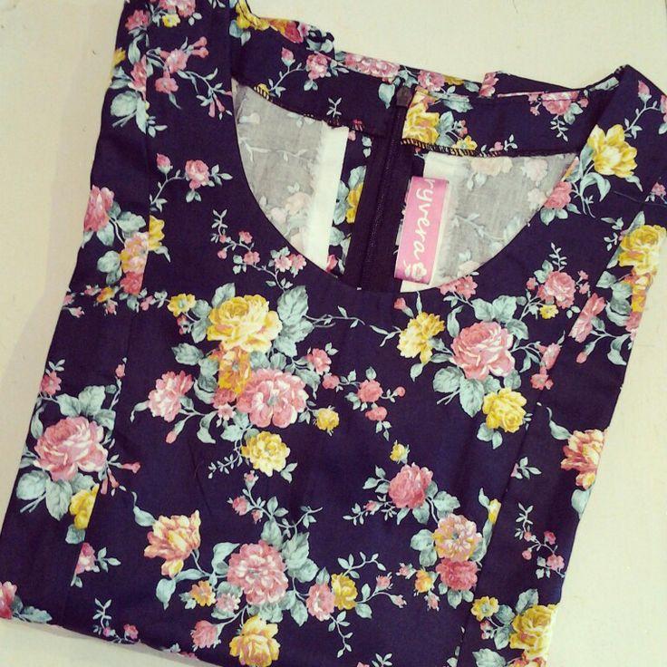 ♡ this flowers   cotton   darkblue   flowers   mini dress   hand made   custom  