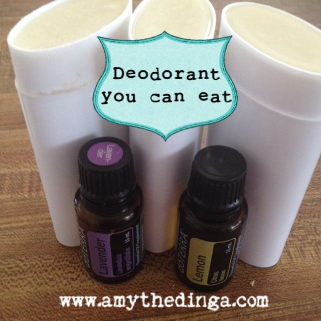 Good for us deodorant -Melt in jar in hot water - 6 Tb Coconut Oil - 6 Tb Shea Butter - 2 Tb Beeswax - add 4 Tb Baking Soda - 4 Tb Arrowroot Powder - 6 drops Lavender Essential Oil* - 6 drops Lemon Essential Oil*