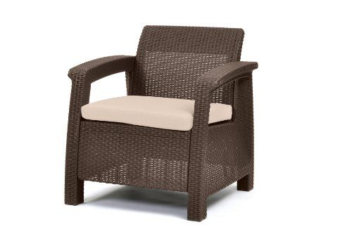Keter Corfu Armchair All Weather Outdoor Patio Garden Furniture with Cushions, Brown Keter http://smile.amazon.com/dp/B00F8FLESE/ref=cm_sw_r_pi_dp_iEkIwb1XF1V6D