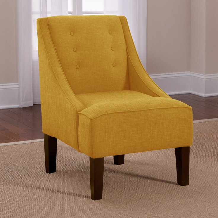 Skyline French Yellow Button Accented Linen Swoop Arm