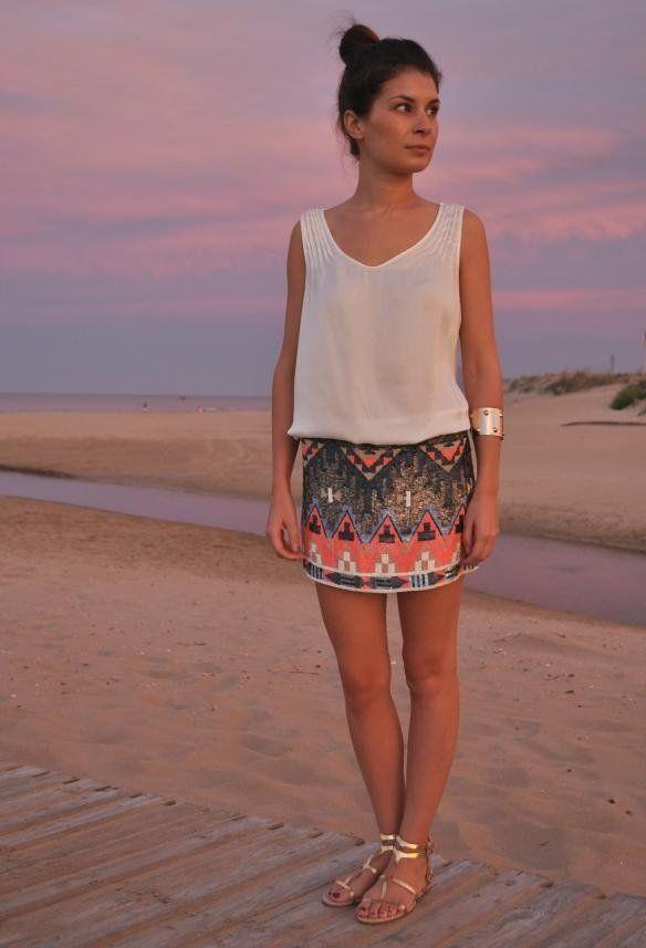 Tribal Sequin Skirt | Chicisimo