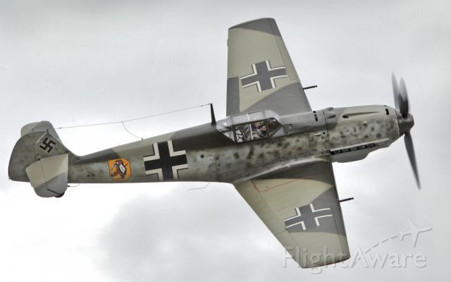FHCAM's Messerchmitt Bf-109-3 over Paine Field, Everett, Wa. This fighter fought in the Battle of Britain, with 3 confirmed victories in the summer of 1940.