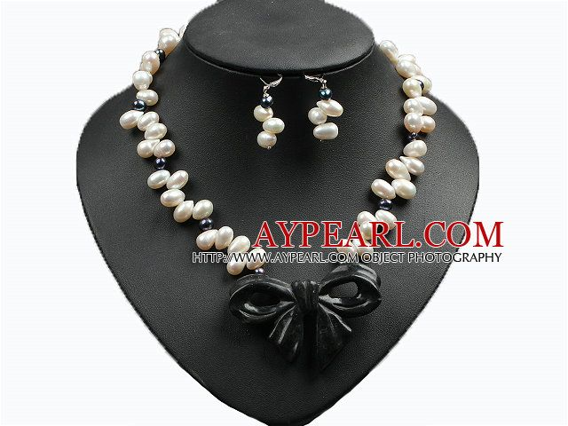 Trendy Style Natural White And Black Pearl Ink Jade Bow Pendant Necklace And Earrings Set