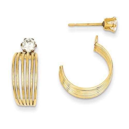 14K Yellow Gold Polished w/CZ Stud Earring Jackets Jewelry Adviser Stud Earrings. $122.90