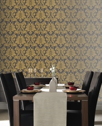 Yellow & Charcoal Wallpaper Vintage inspired Damask