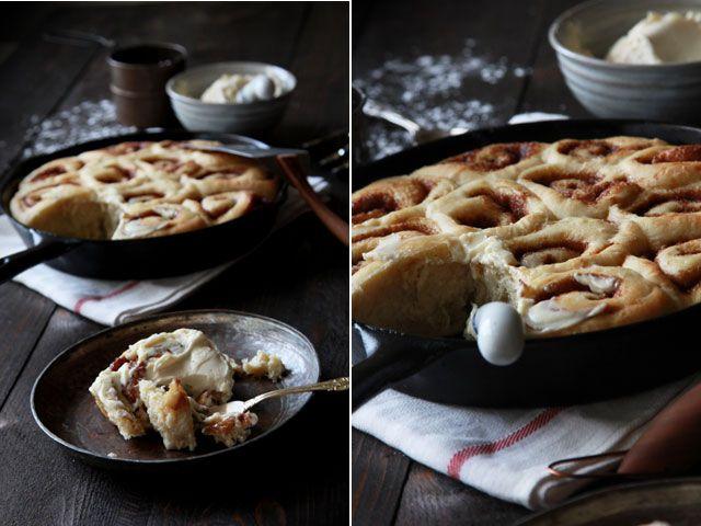 maple glazed cast iron cinnamon buns via Heather Hands