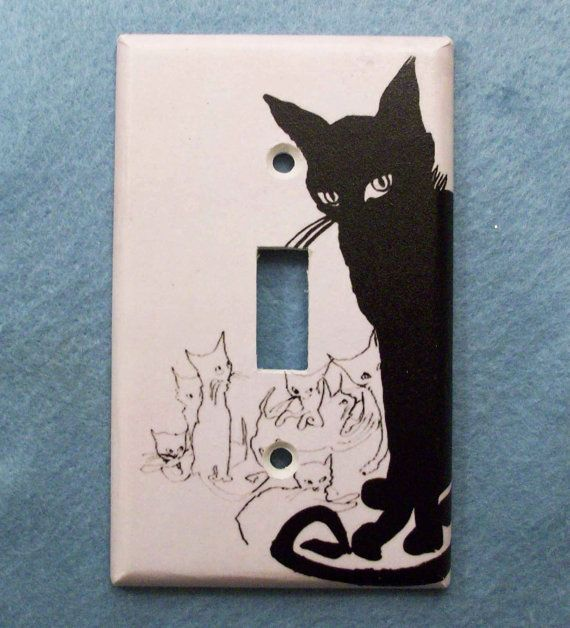 Retro Black Cat Light Switch Cover  Switchplate by ZombieLoveSquad, $6.00