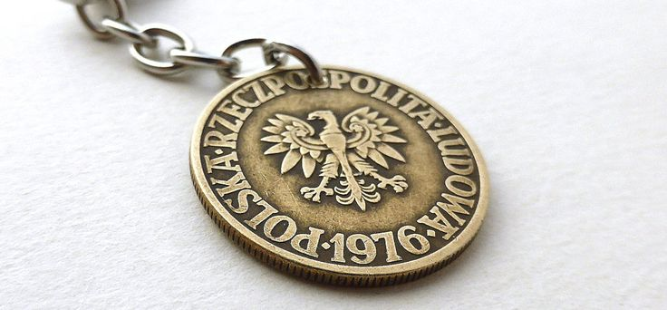 Polish charm, Coin charm, Vintage charm, Purse charm, Vintage keychain, Polish keychain, Handbag accessory, Gift under 20, Charm, Coin, 1976 by CoinStories on Etsy