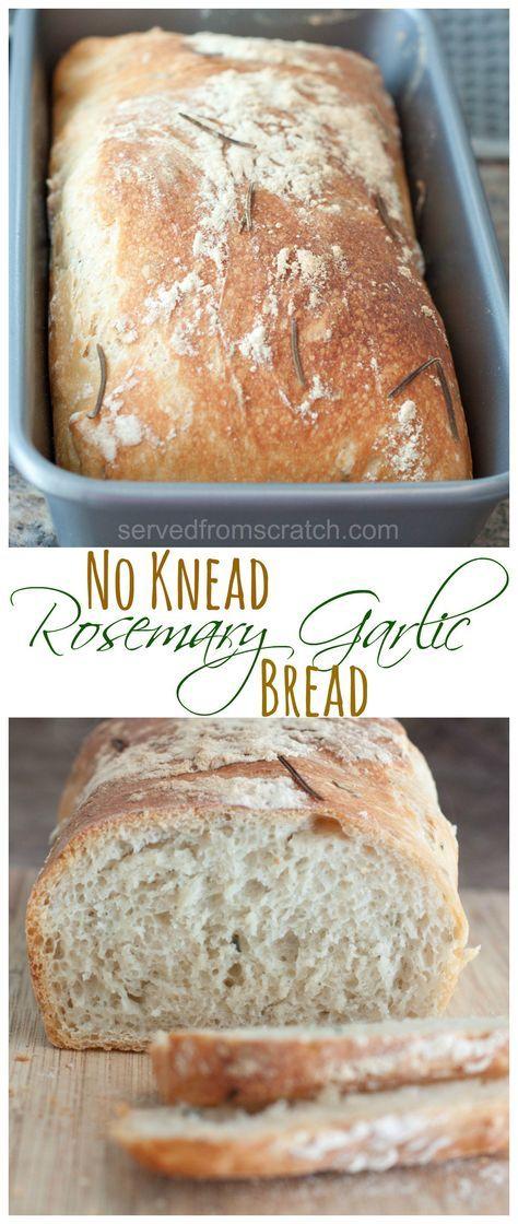 Crispy crust, soft chewy center, No Knead Rosemary Garlic Bread