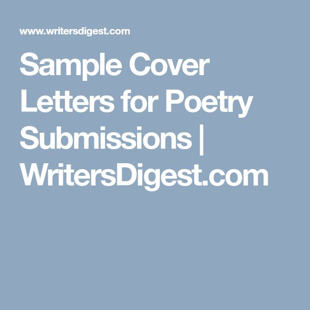 Sample Cover Letters for Poetry Submissions | WritersDigest.com