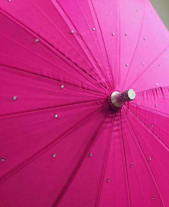 Hot Pink Heart Shaped Umbrella - Customised with your colour choice of rhinestones. Hand glued with specialist glue, to keep your beautiful brolly, beautiful! Approx 100 scattered rhinestones across the umbrella canopy and added around the umbrella tip, to finish it off perfectly!