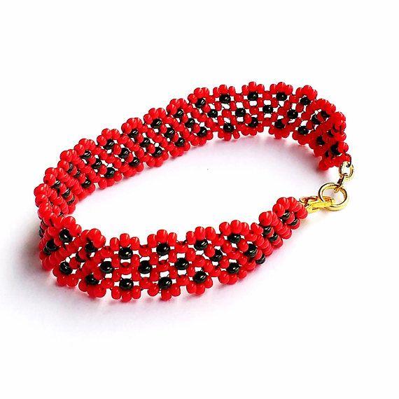 Ladybug Bracelet Black Spots on Red Seed Beads Nature Theme