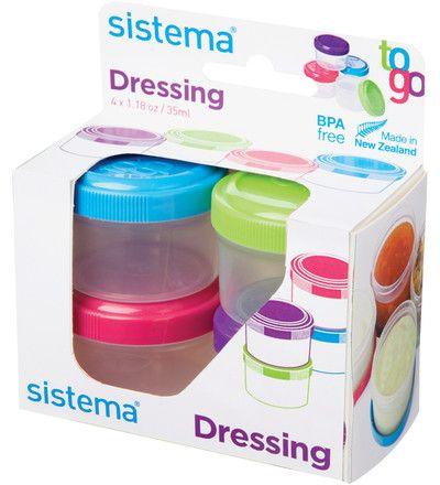 3,50 EUR | Sisteman pienet, kätevät kastikepurkit helpottavat kastikkeiden, dippien ja muiden pikkuherkkujen kuljetusta työpaikoille, retkille ja harrastuksiin.<BR>Pakkauksessa 4 x 35 ml purkit. Kätevä sulkemismekanismi tekee pikkupurkeista tiiviitä. Lyijy, BPA ja ftalaatti vapaa.