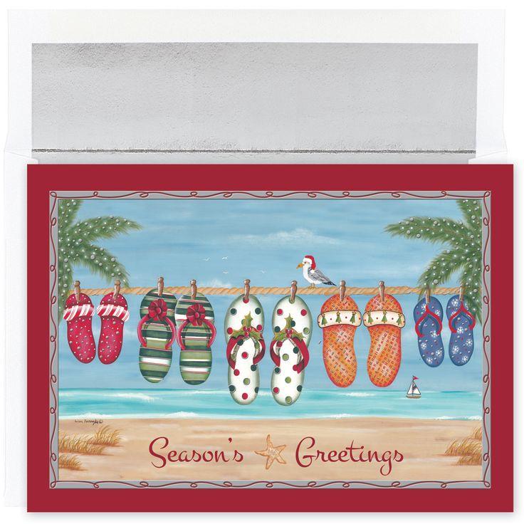 Holiday Flip Flops Tropical Christmas Cards | Beach christmas cards ...