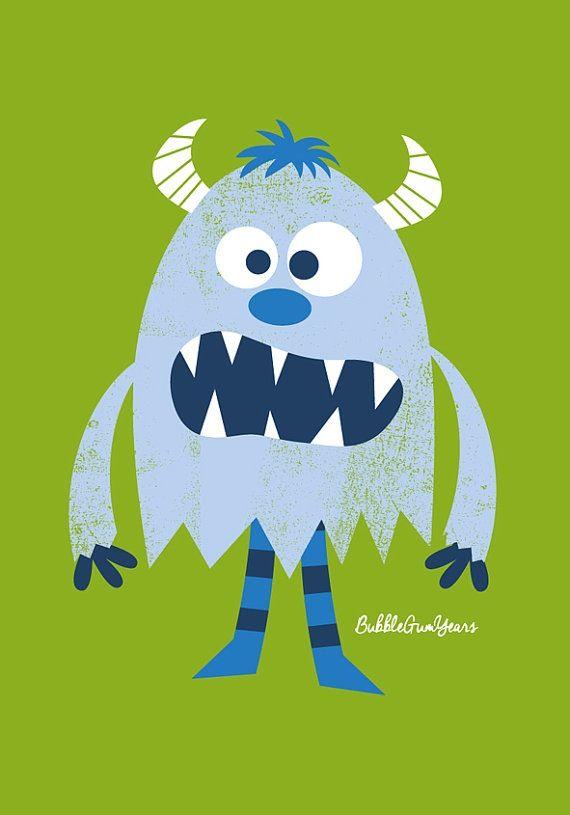 Light blue monster. Bubble Gum Years - ETSY