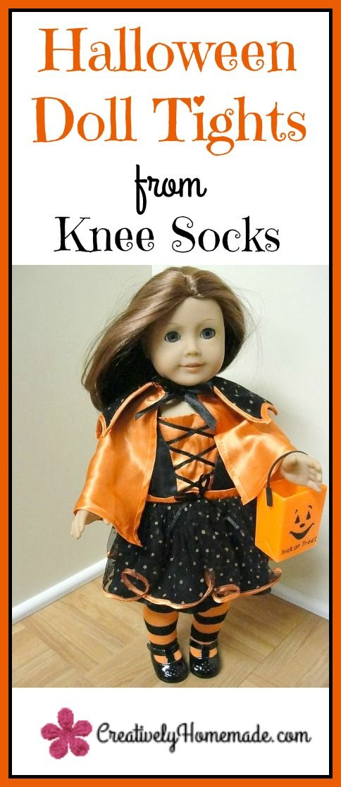 Did you know you can make a pair of Halloween doll tights for 18 inch dolls from an old knee sock? It's quick and easy. Learn how to make them here!
