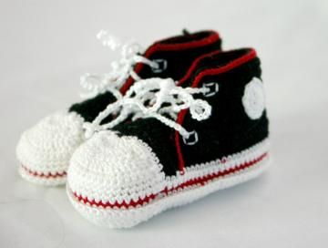 Black And White Baby Crochet Tennis Shoes