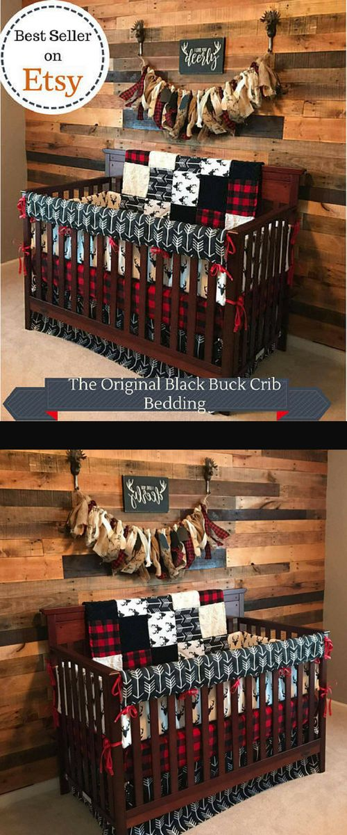 Baby Boy Crib Bedding - Buck Deer, Black Arrows, Lodge Red Black Buffalo Check, and Black Crib Bedding Ensemble #affiliate #babyboy #nursery