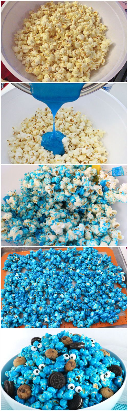 Elmo 1st birthday party ideas birthday party sesamestreet - Cookie Monster Popcorn Cookie Cake Birthdaybirthday Cake Popcornelmo First