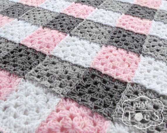 Gray and Pink Granny Square Baby Blanket, Pink Gray Nursery Bedding, Pink Baby Blanket, Granny Square Afghan, Crochet Baby Blanket - 2 Sizes... etsy