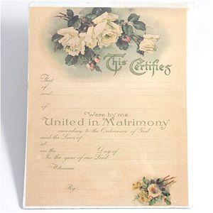 "Marriage Certificate - Open White Roses - WeddingDepot.com - 230-CRT025 Marriage certificates serve as a great home decor memory of your special day. Includes blanks for names, date, time, officiant, witnesses. Measures 8"" x 10""."