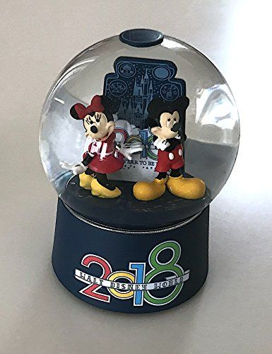 Walt Disney World 2018 Year to Be Here Mickey Minnie Mouse Glass Snowglobe