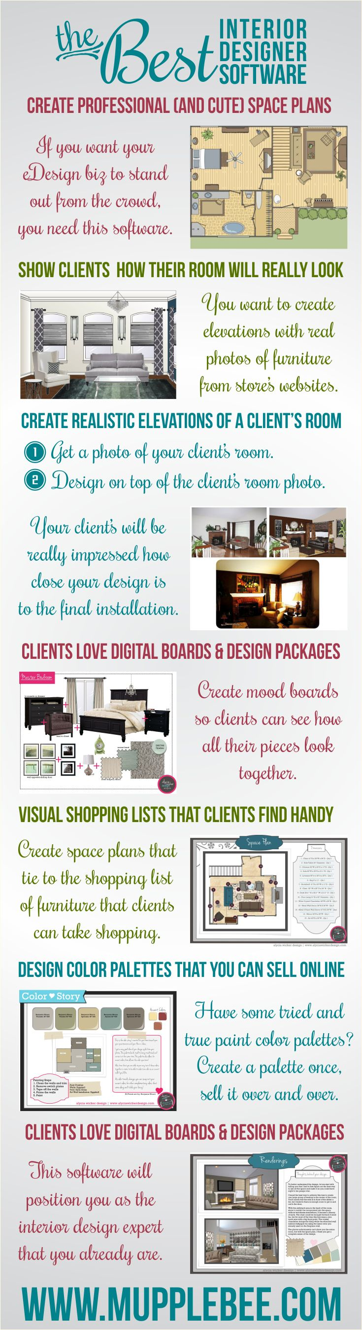 One of the best interior design software programs that you can use for your eDesign / eDecorating business. http://www.mupplebee.com/interior-design-software-for-the-coolest-interior-designers/