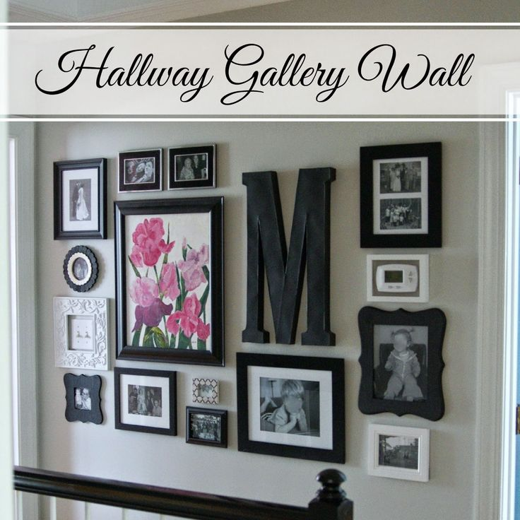 """Hallway Gallery Wall...black and white frames, letter """"M"""""""