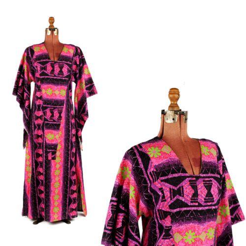 Vintage-70s-Pink-Purple-Hippie-Bell-Sleeve-Op-Art-Psychedelic-Festival-Dress-M