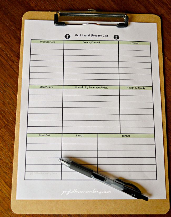 Free Printable Menu Planner and Grocery List