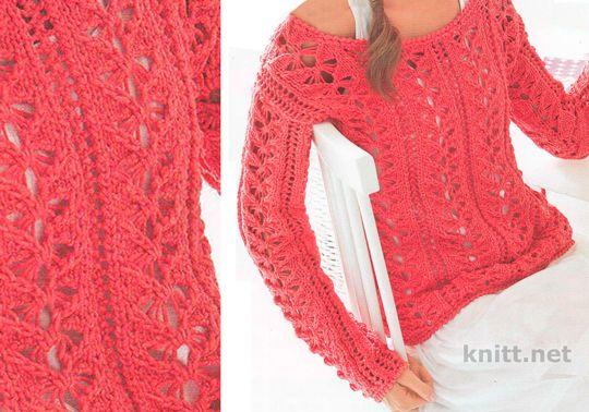 Ажурный вязаный пуловер спицами выполнен из тонкой пряжи. Женский тонкий пуловер декорирован красивым ажурным узором.